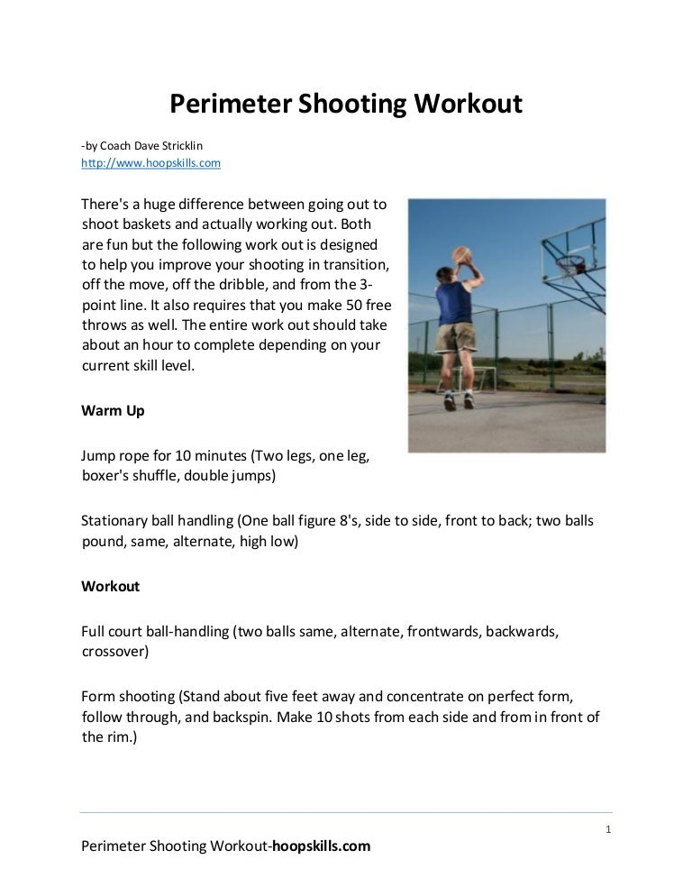 Basketball perimeter shooting workout