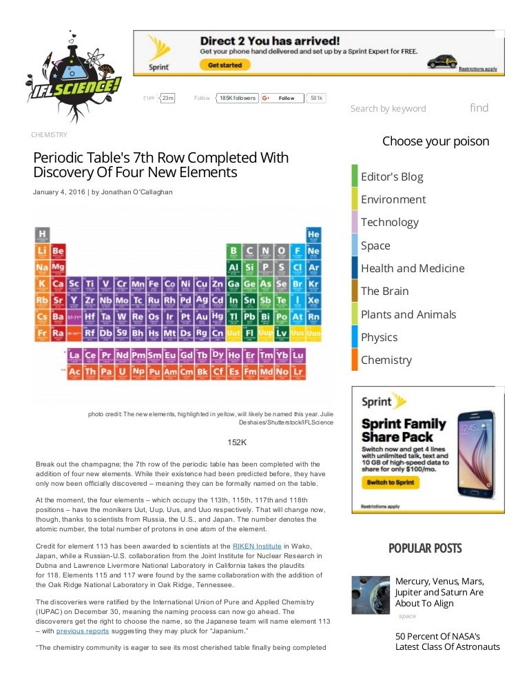Periodic table's 7th row completed with discovery of four ...