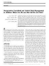 Perioperative crystalloid and colloid fluid management in children where are we and how did we get here
