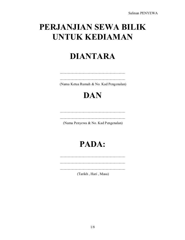Perjanjian Sewa Rumah Bilik