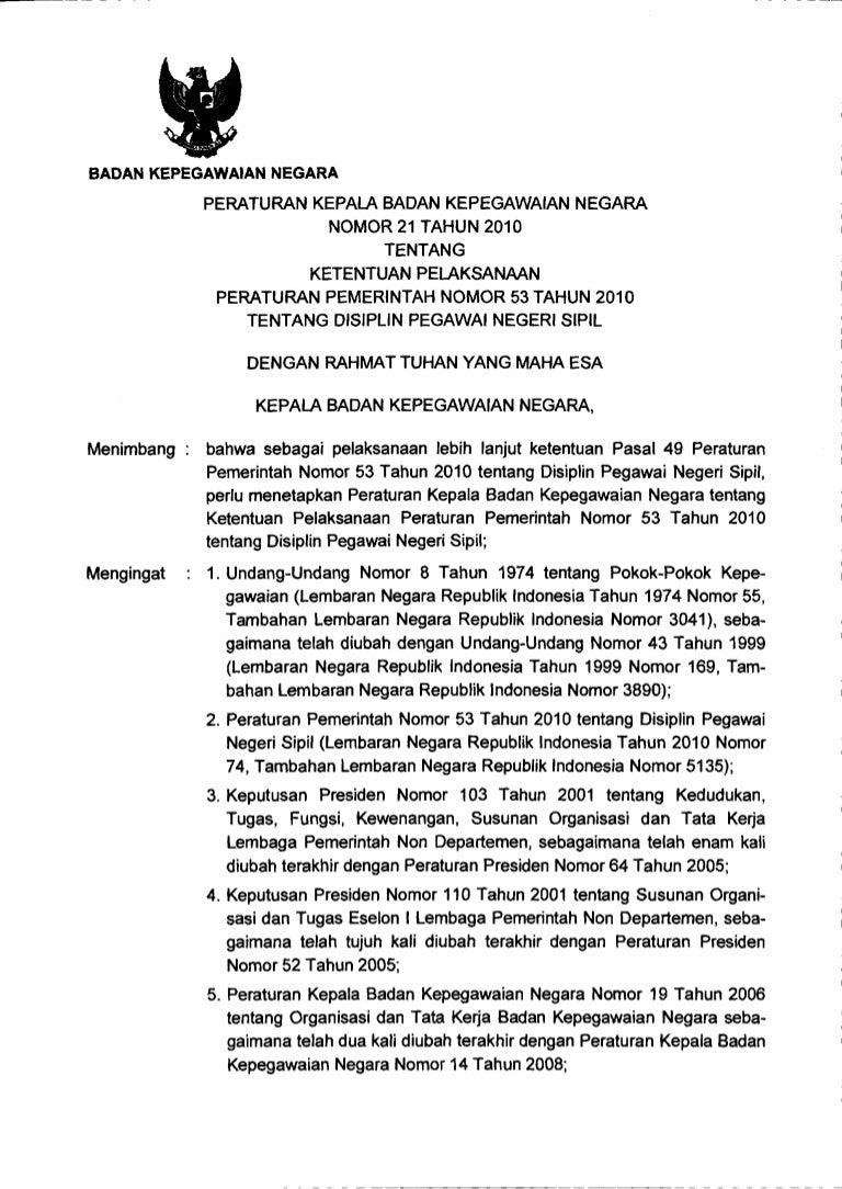 Perka Bkn 53 Tahun 2010 Tentang Disiplin Pns