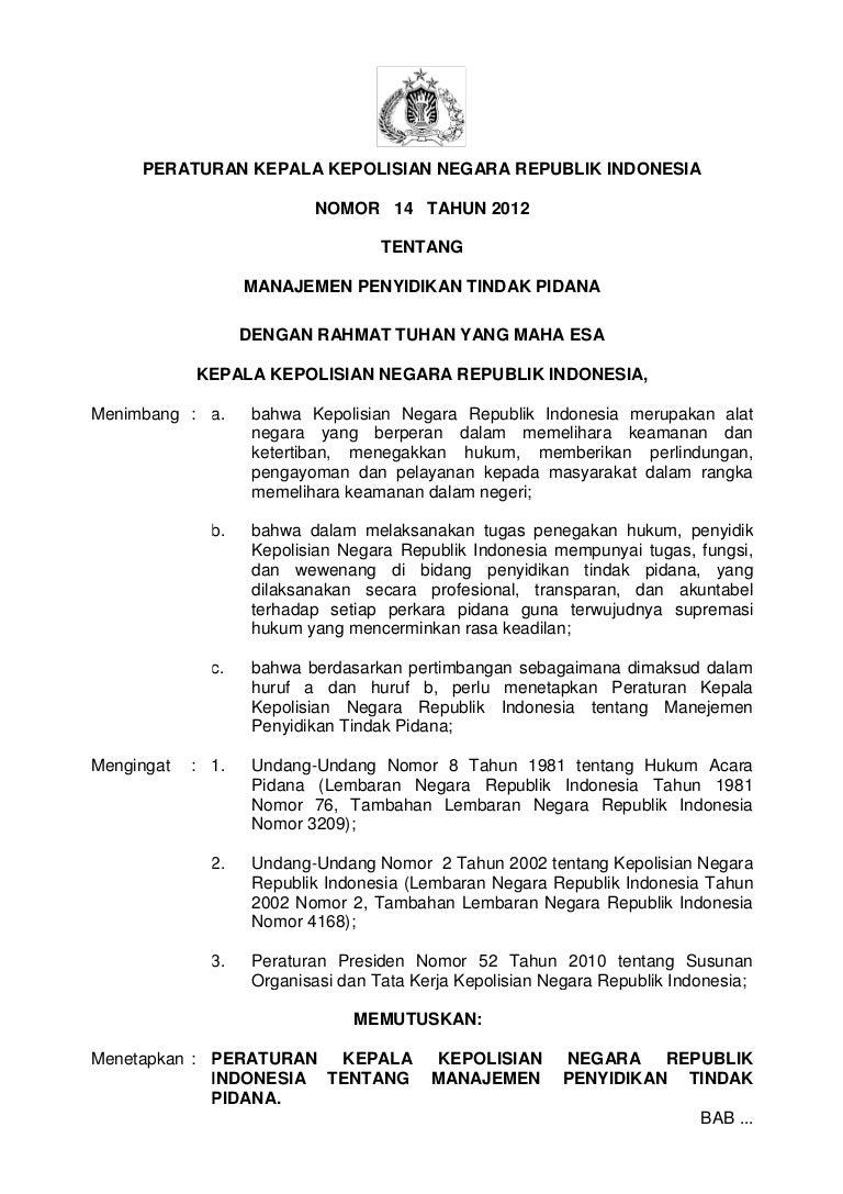 Perka Polri No14 Thn2012 Ttg Manajemen Penyidikan Tindak