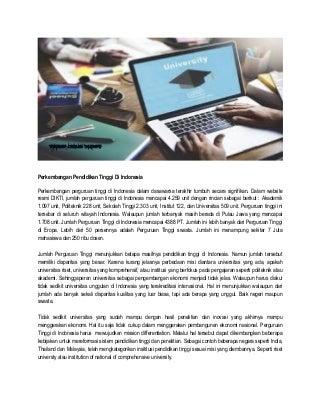 Perkembangan pendidikan tinggi indonesia kekinian