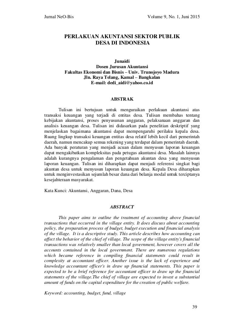 Perlakuan Akuntansi Sektor Publik Desa Di Indonesa