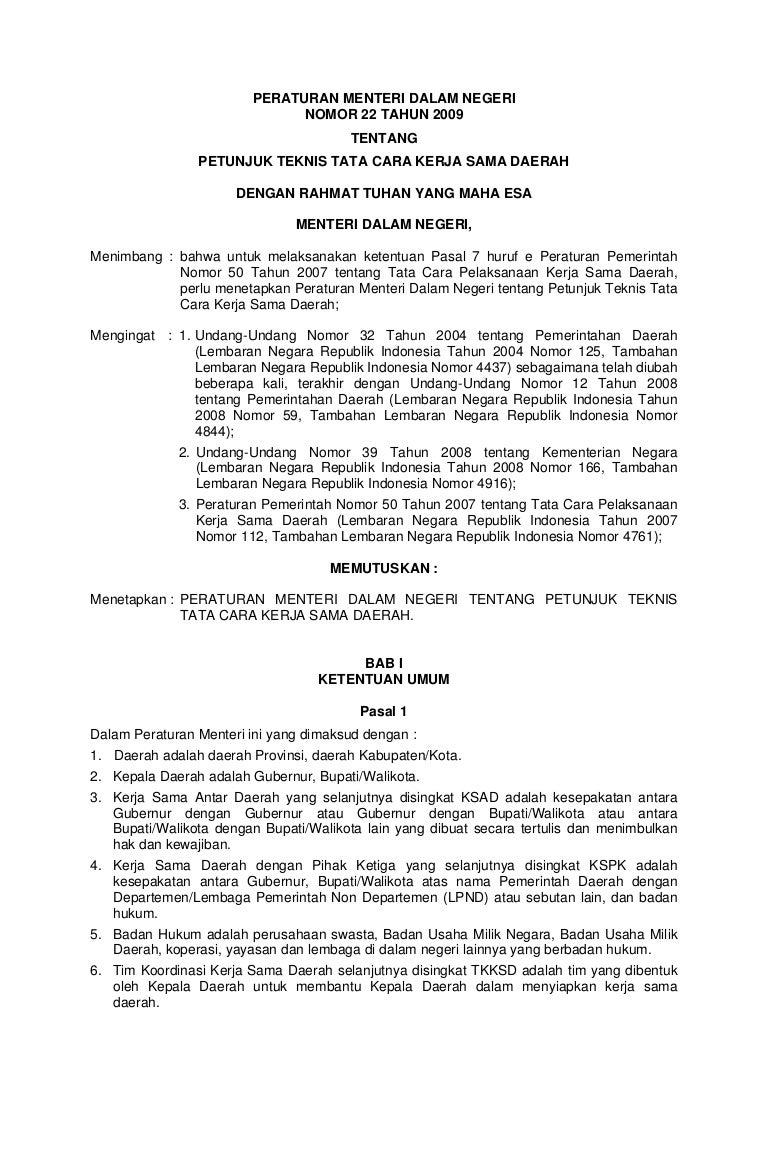peraturan menteri dalam negeri no 22 tahun 2009 petunjuk