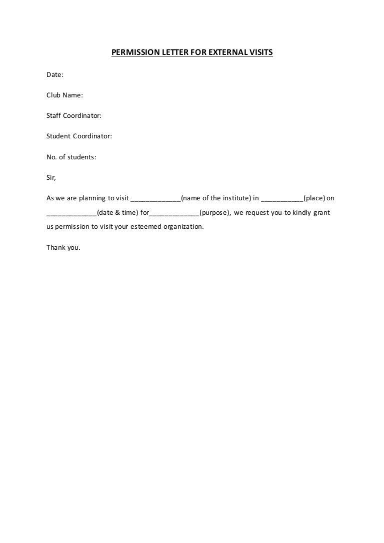 permission letter to visit a place
