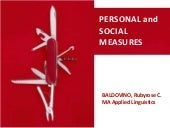 Personal and Social Measures (Education)