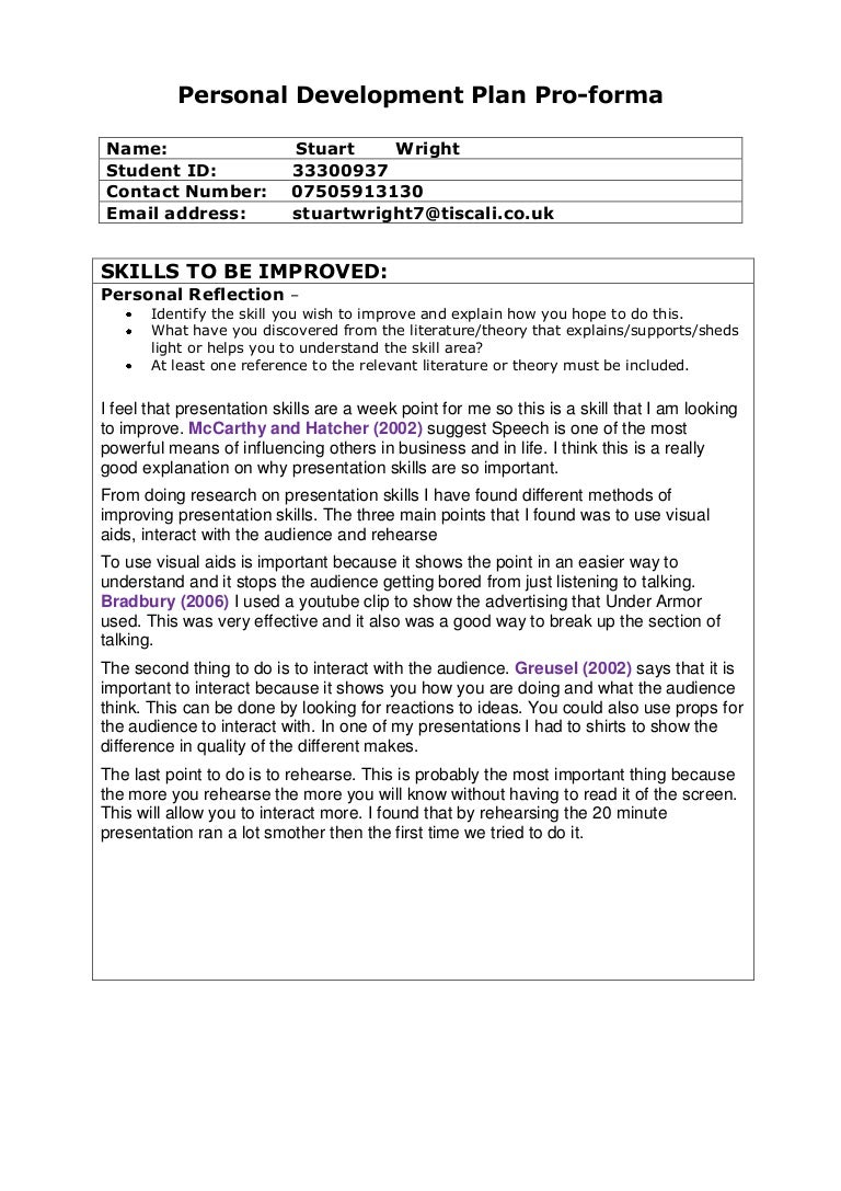 Personal development plan pro forma and action plan dec 2010 – Personal Development Action Plan Template