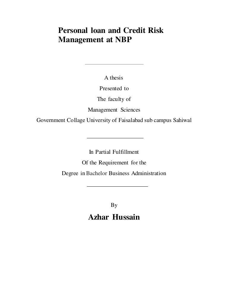 Personal loan and credit risk management at NBP