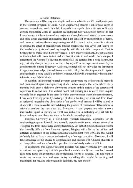 iaeste personal statement examples