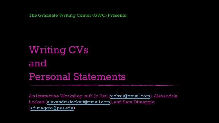 personal statements and cvs