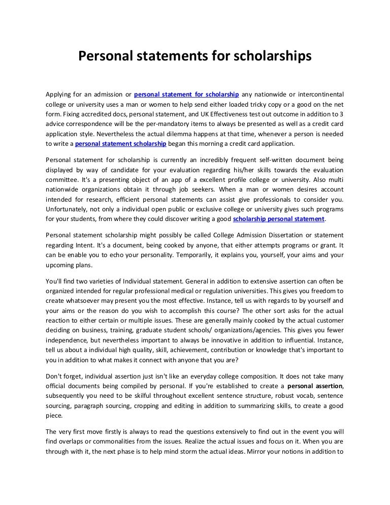 personal statement college scholarship