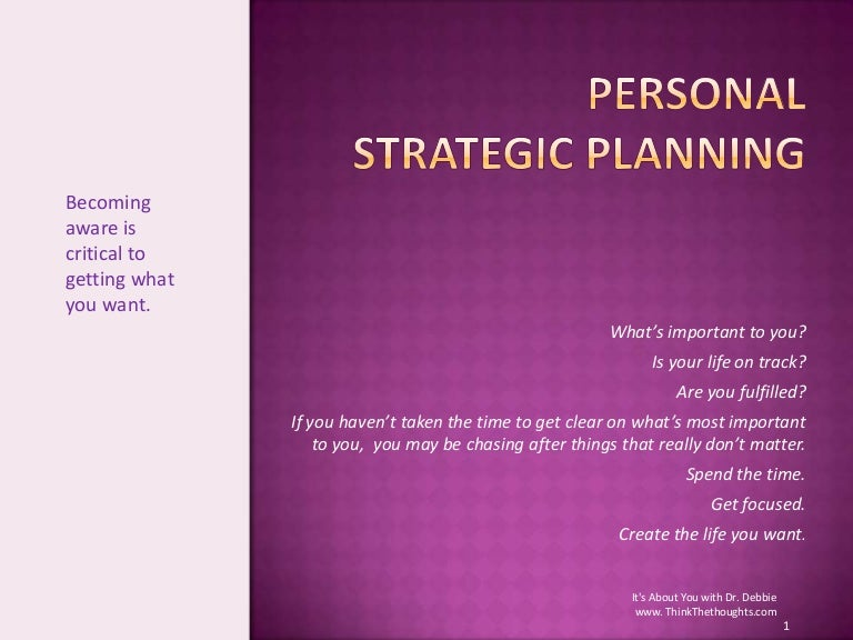Personal Strategic Planning
