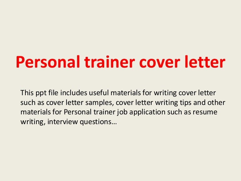 Personal trainer cover letter