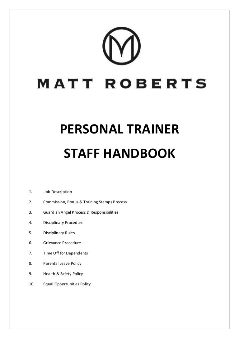 Personal Trainer staff handbook