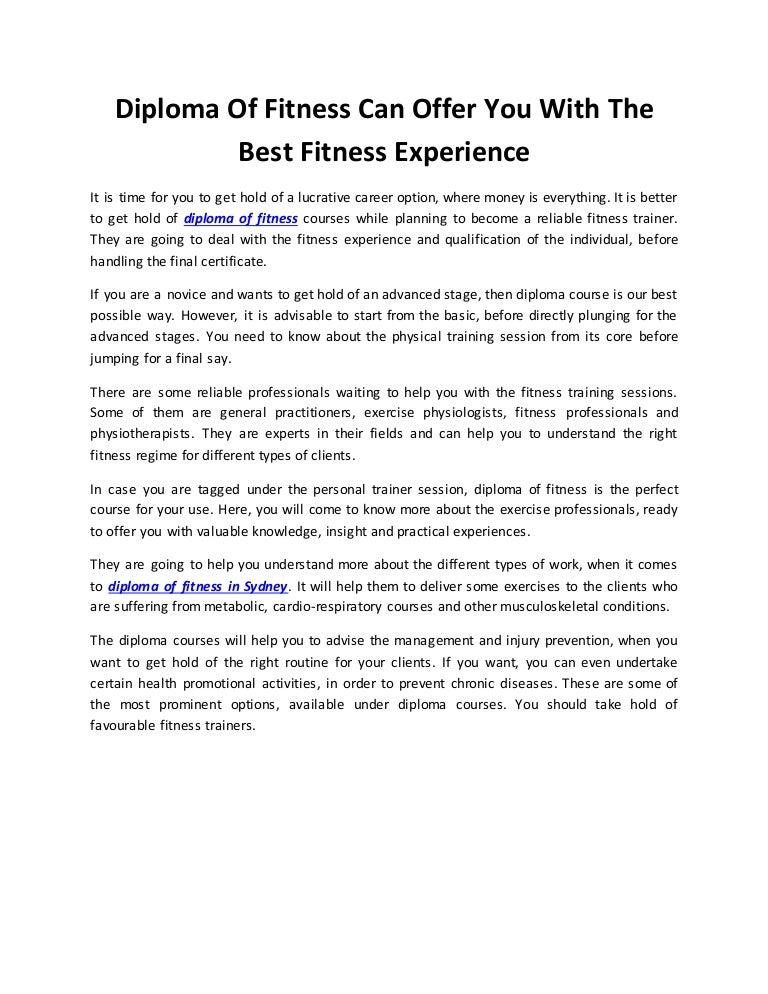 Diploma Of Fitness Can Offer You With The Best Fitness Experience