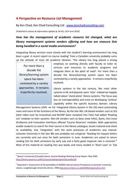 Perspective on resource list/reading list managemnt_cilip_update_june2010