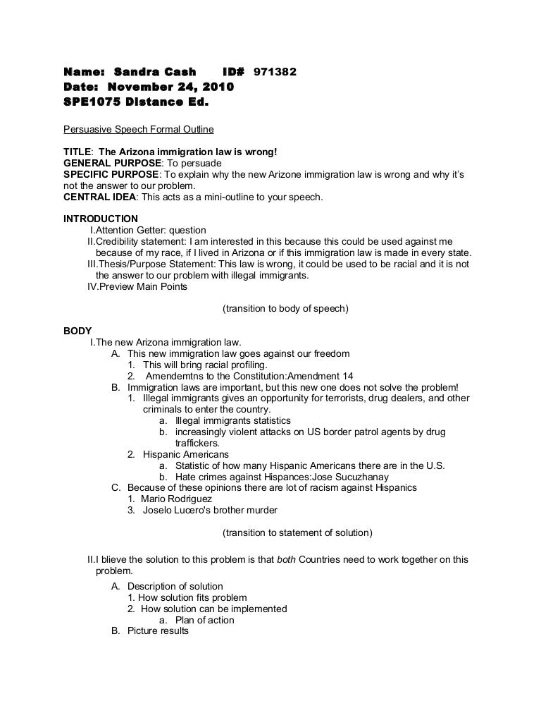 Hate Speech Example Template Persuasive Speech Formal Outline