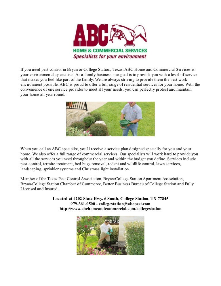 Pest Control College Station Tx Abc Home And Commercial Services
