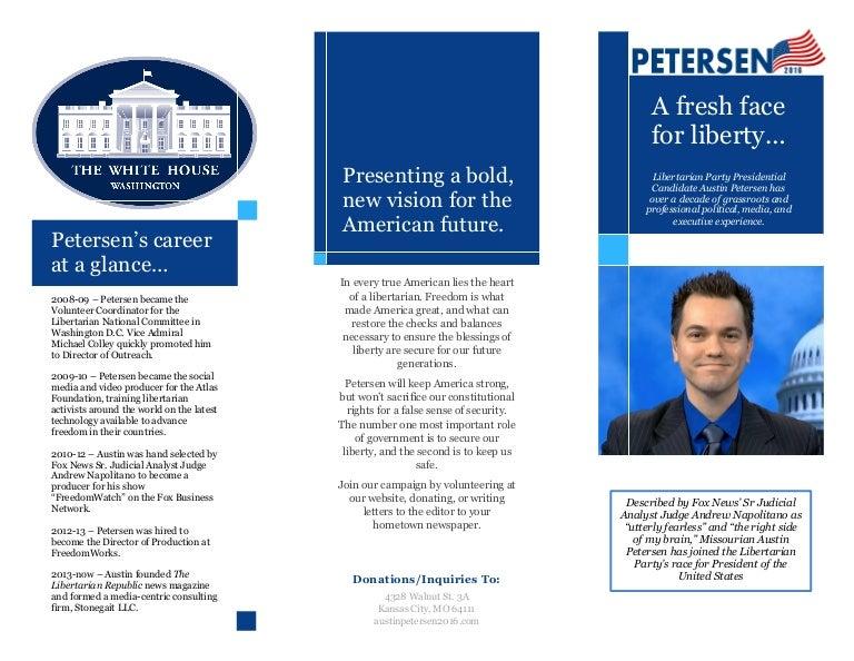Petersen for President 2016 brochure