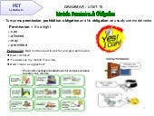 PET Grammar Unit 15:  Modal for permission and Phrasal verbs with GET