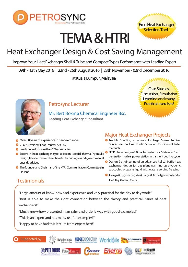 Petrosync Tema Htri Heat Exchanger Design Cost Saving Management