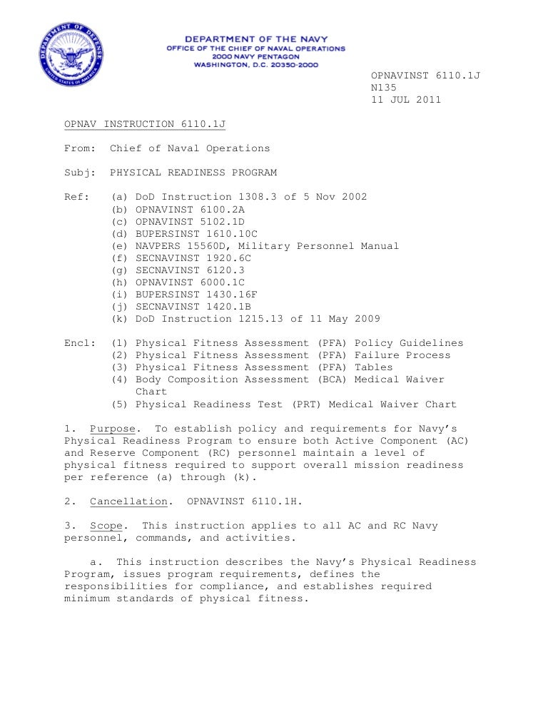 NAVY PRT Instructions 6110.1 j