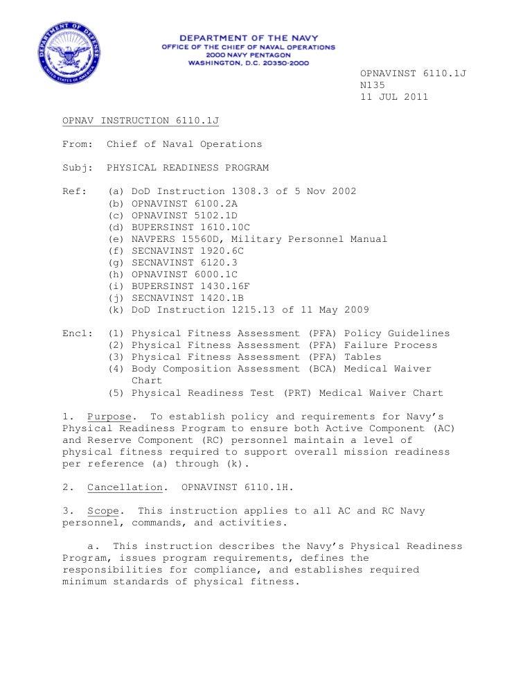 Navy Prt Instructions 61101 J