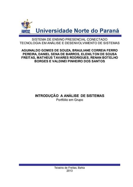 Portfolio grupo-  sem1 - unopar - análise de sistemas