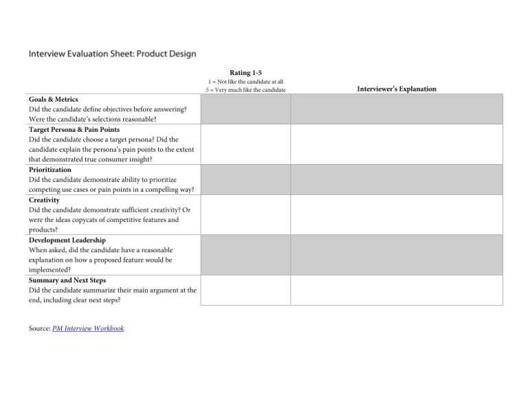 Pm Interview Evaluation Sheet Product Design Question
