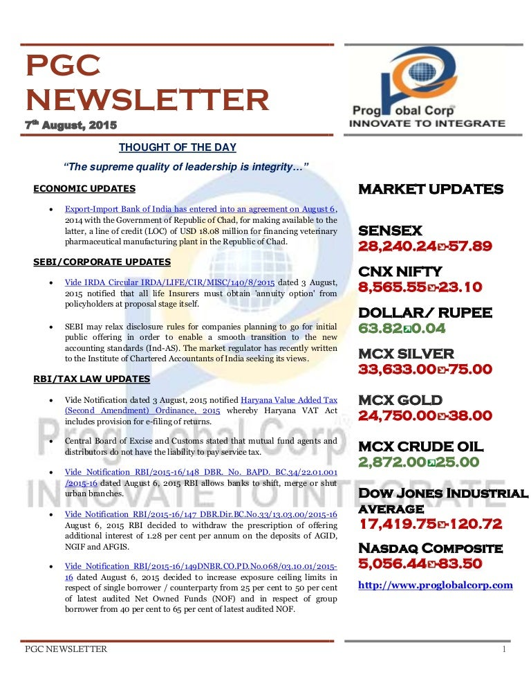 Newsletter dated 7th August,2015