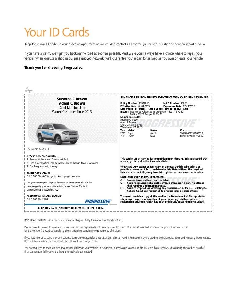 Progressive Insurance Card Template