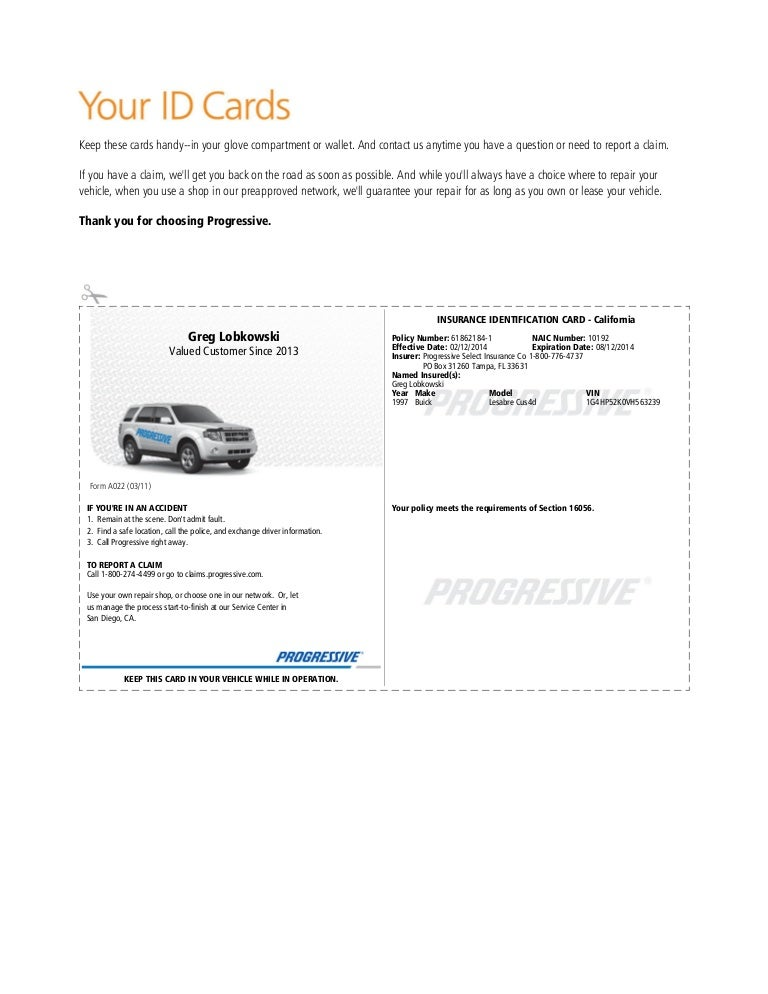 progressive insurance card template  Pgr insurance idcard (1)