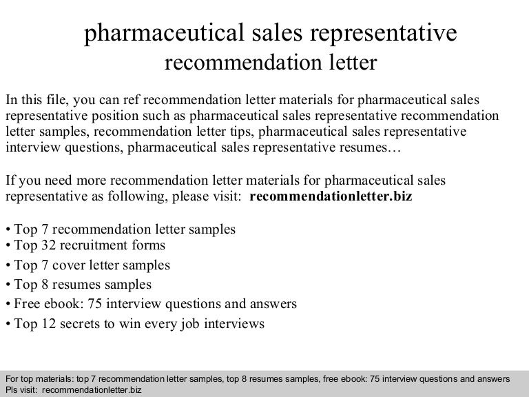 pharmaceutical sales representative recommendation letter - Cover Letter For Medical Sales Representative