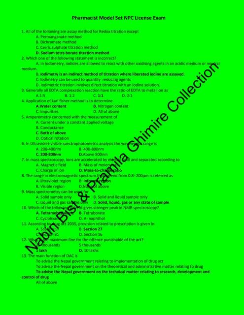 Nepal Pharmacy Council License Exam Model set II  (Pharmacist)