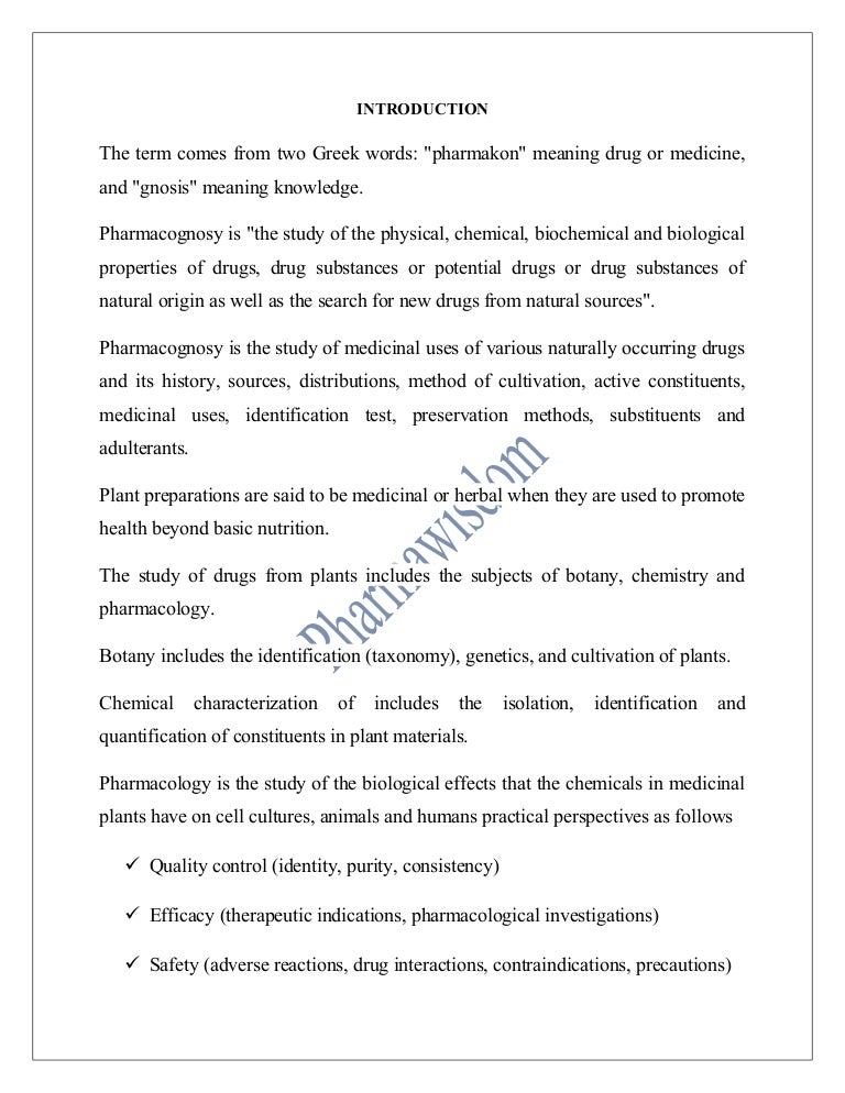 INTRODUCTION TO PHARMACOGNOSY AND SCOPE OF PHARMACOGNOSY
