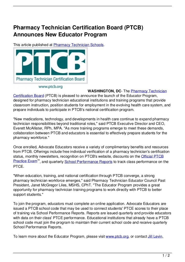Pharmacy technician certification board ptcb announces new educator 1betcityfo Image collections