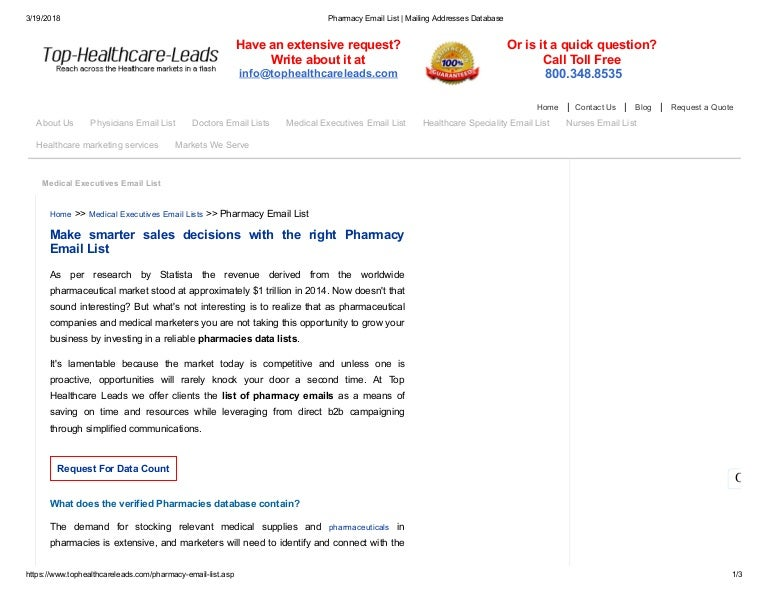 Pharmacy Mailing Database - Top Healthcare Leads