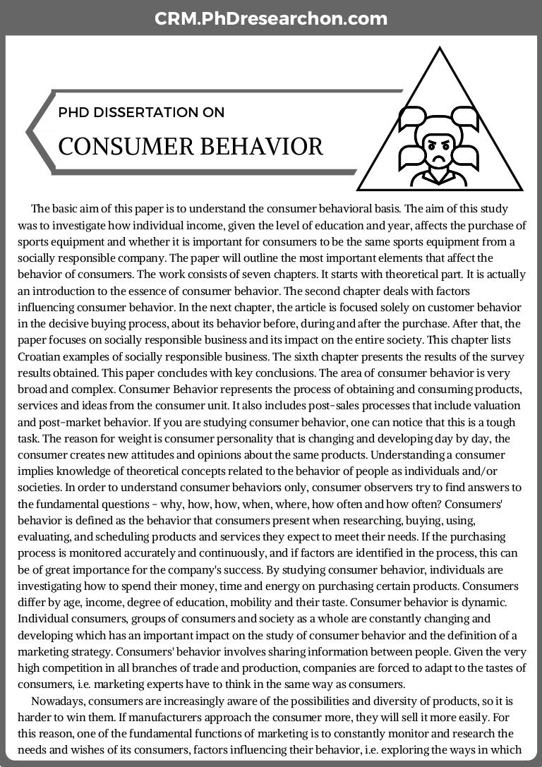 Phd thesis on consumer behaviour