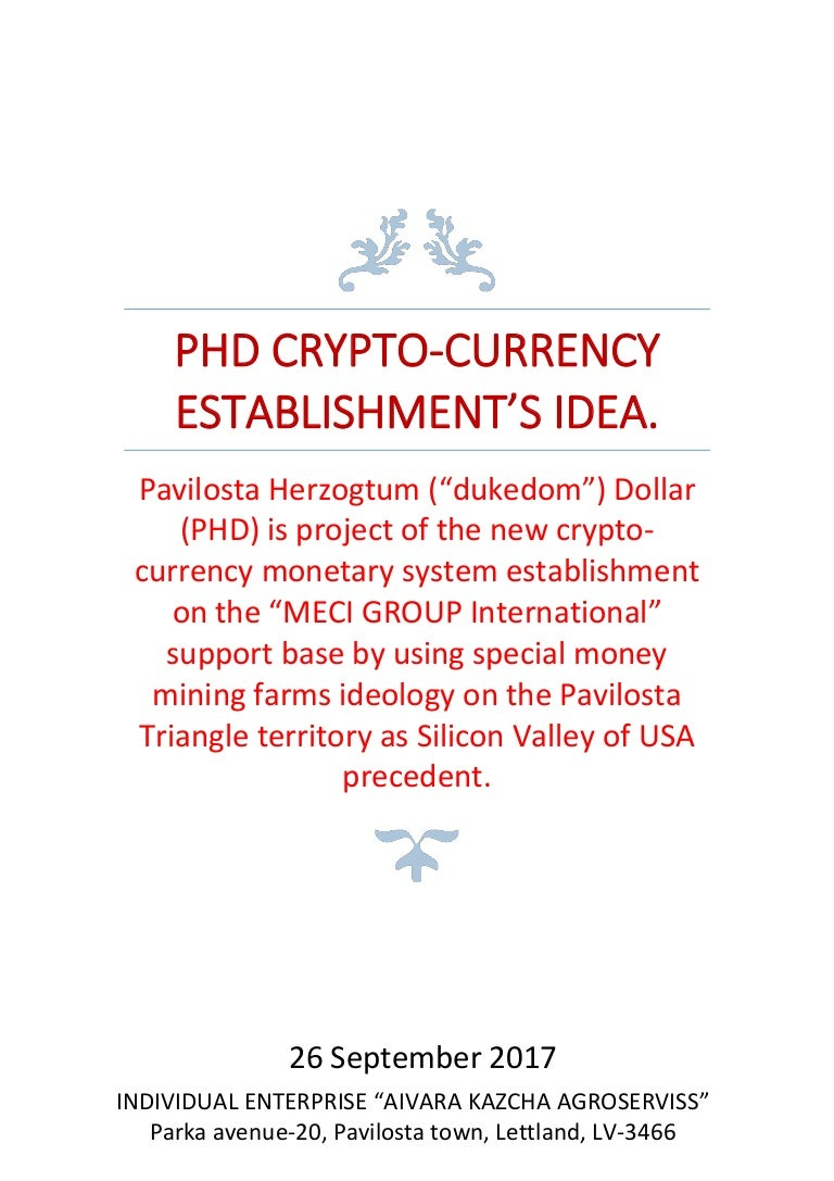 phd in cryptocurrency