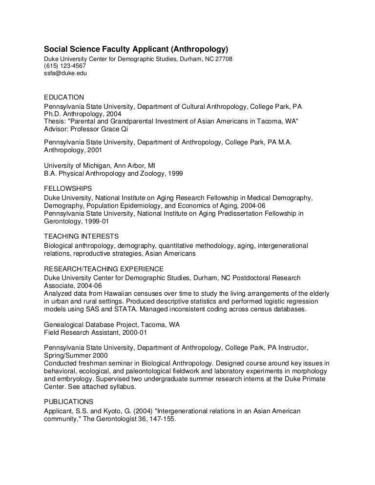 phd cv  anthropology faculty