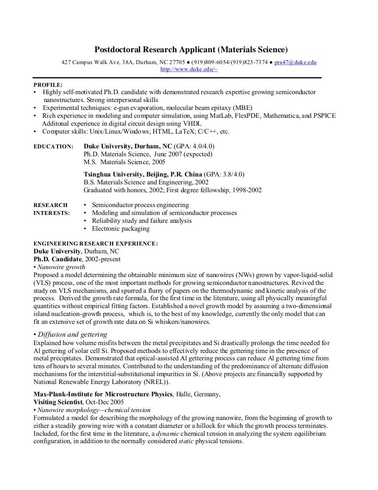 PhD CV Postdoctoral Research - Resume For Science Research