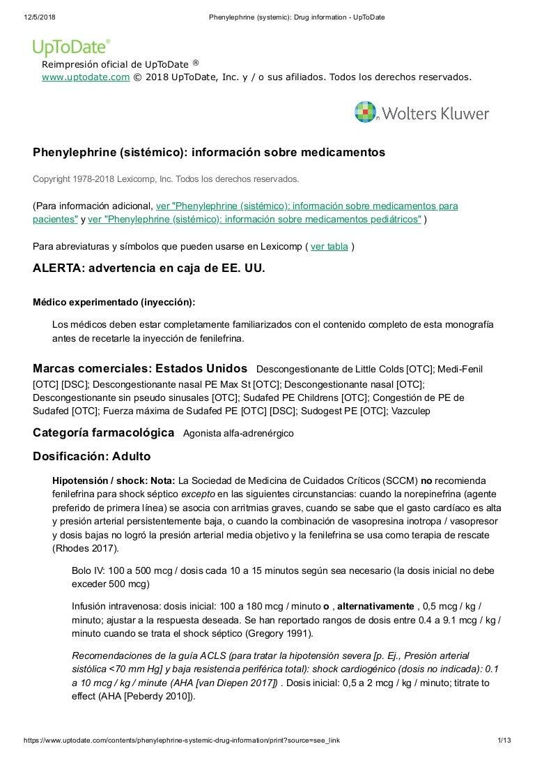 Fenilefrina hcl e hipertensión