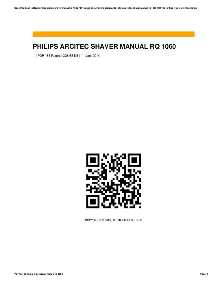 Philips arcitec shaver manual rq 1060