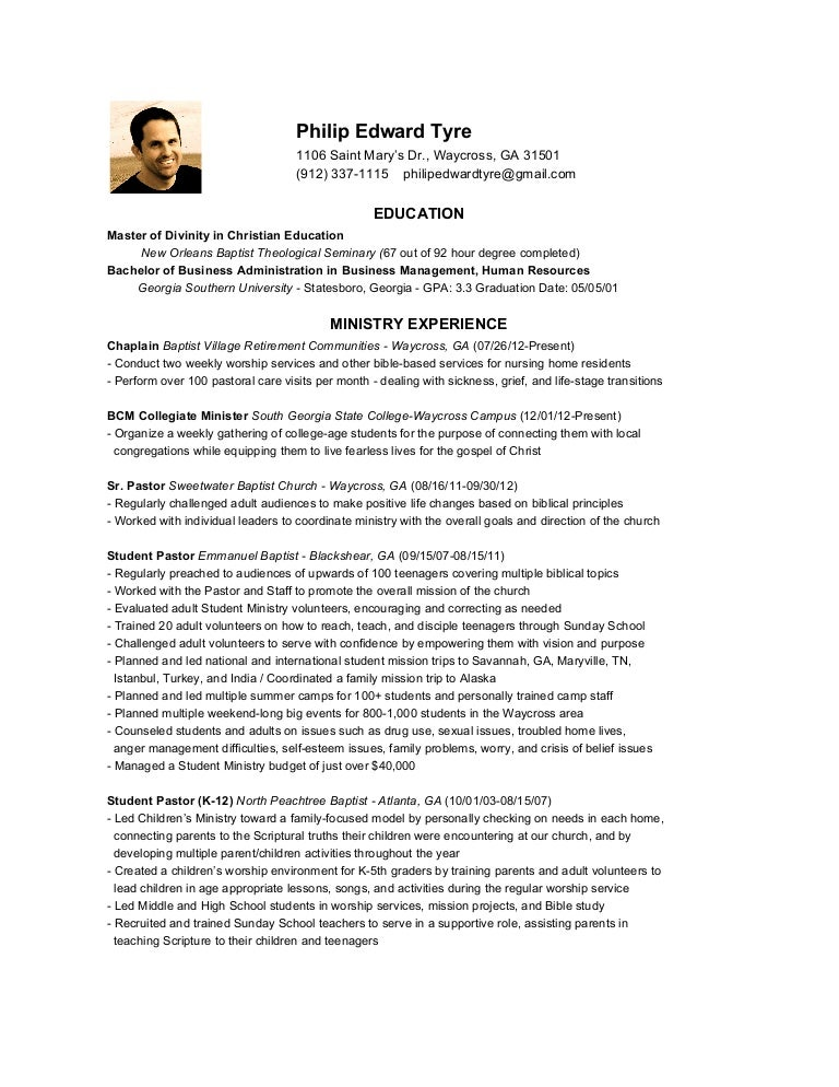 ministry resume of philip tyre - Sample Pastoral Resume