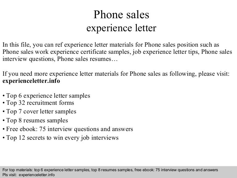 Phone Sales Experience Letter
