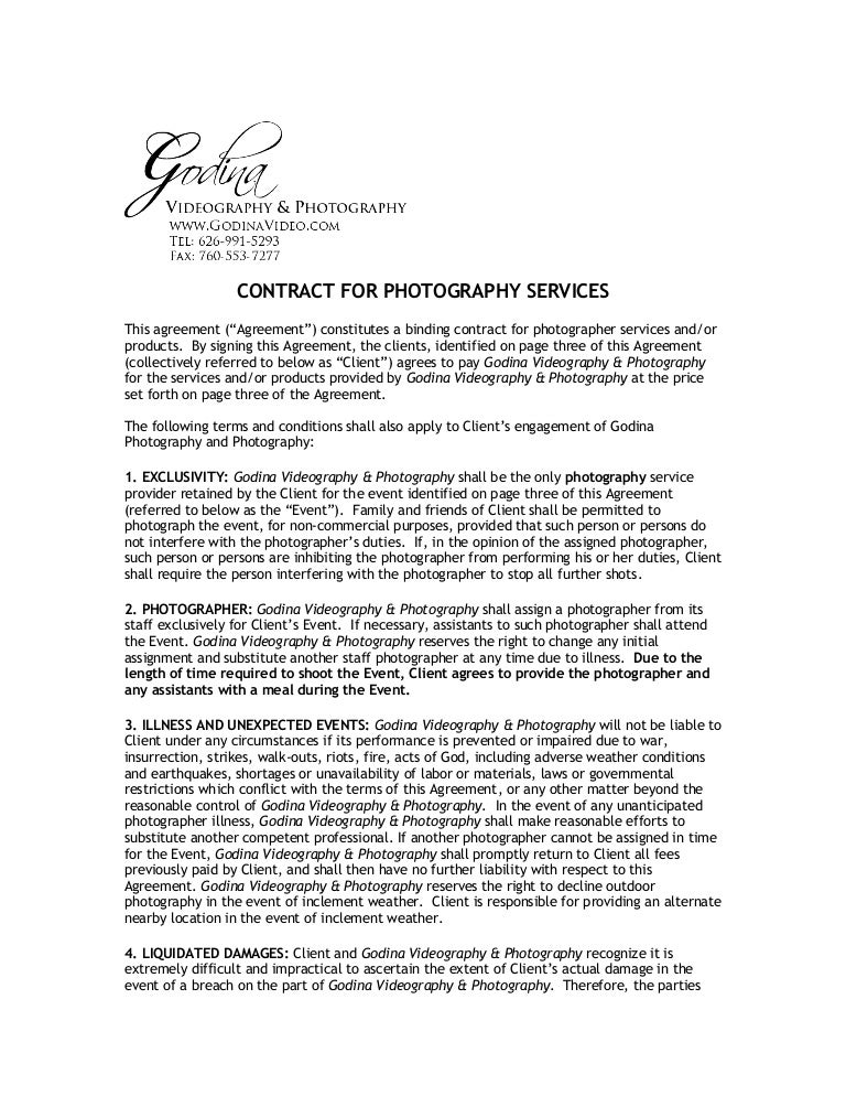 Photography Services Contract - Resume Template Sample