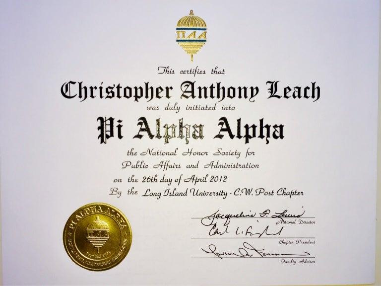 Pi Alpha Alpha Induction Certificate
