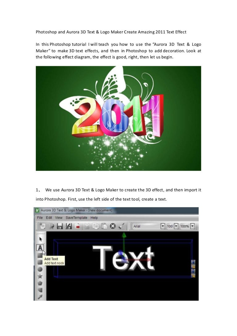 Photoshop and aurora 3d text logo maker create amazing 2011 text ef baditri Image collections