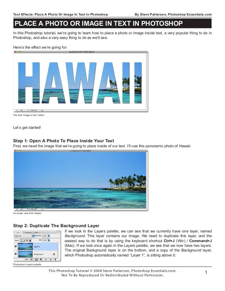 how to place a photo in text in photoshop